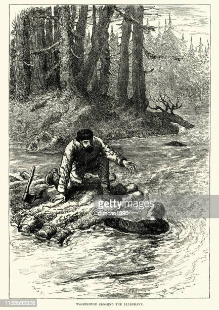 george washington, crossing the alleghany river, 1753 - us president stock illustrations, clip art, cartoons, & icons