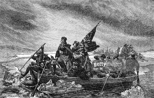 ilustraciones, imágenes clip art, dibujos animados e iconos de stock de cruzar el puente george washington delaware - american revolution