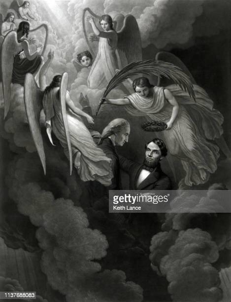 george washington greets abraham lincoln in heaven - martyr stock illustrations