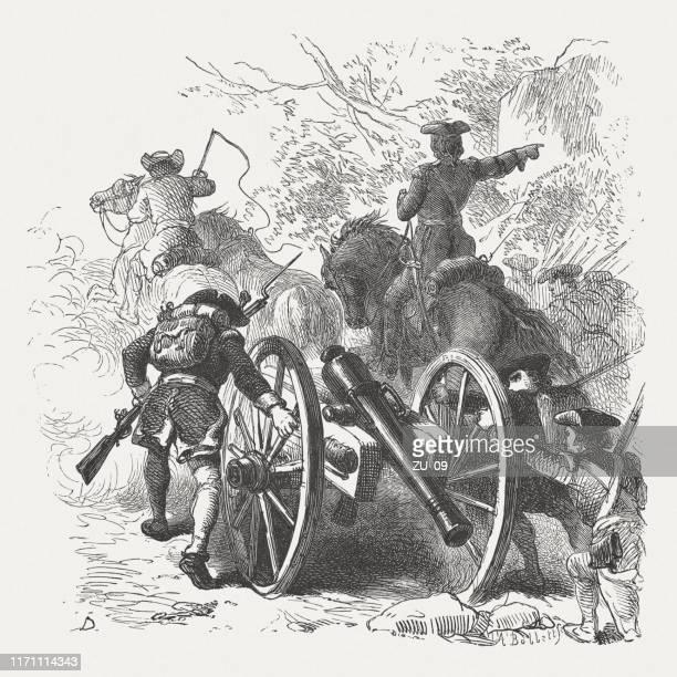ilustrações, clipart, desenhos animados e ícones de george washington nas montanhas de allegheny (1754), woodcut, publicado 1876 - 6 7 anos