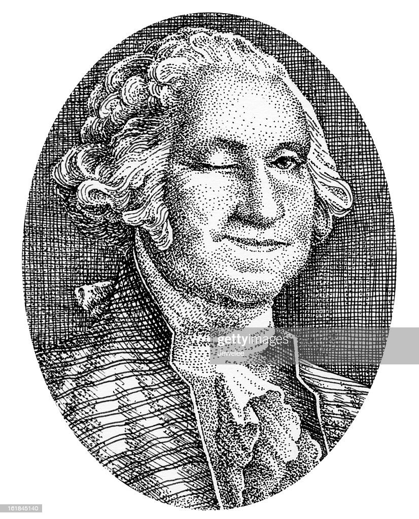 George Washington Smiles and Winks From His Picture On Money : stock illustration