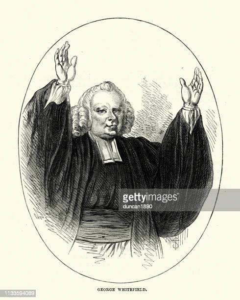george whitefield, english evangelist - eccentric stock illustrations