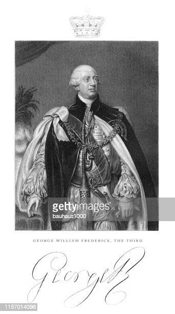 george william frederick iii, king george iii, english victorian engraving, 1840 - heroin stock illustrations, clip art, cartoons, & icons