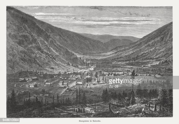 Georgetown in Colorado, USA, wood engraving, published in 1868