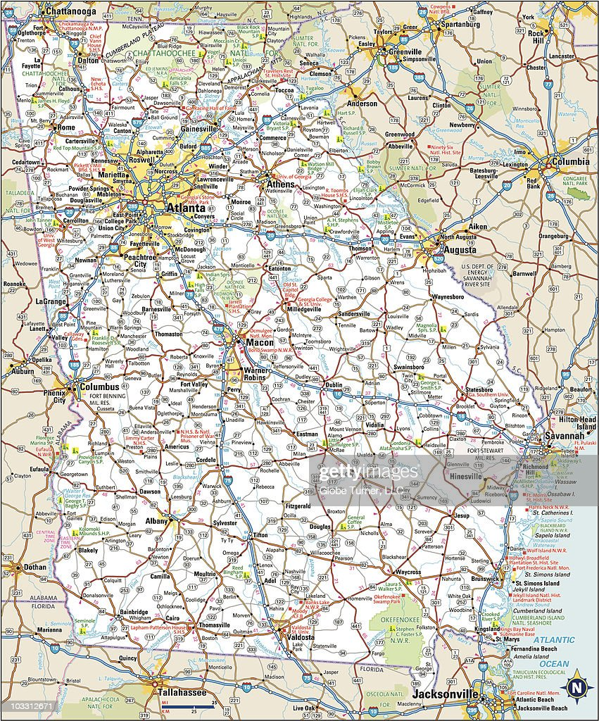 Highway Map Of Georgia.Georgia Highway Map Stock Illustration Getty Images