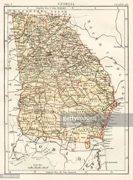 georgia map 1884 - georgia stock illustrations, clip art, cartoons, & icons
