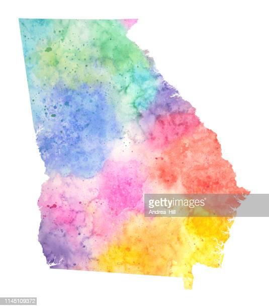 ilustraciones, imágenes clip art, dibujos animados e iconos de stock de ilustración mapa ráster de acuarela de georgia en colores pastel - georgia estado de eeuu