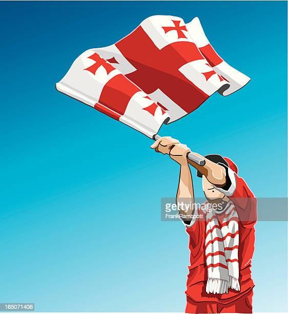 georgia winken flagge fußball-fan - flagge von georgien stock-grafiken, -clipart, -cartoons und -symbole