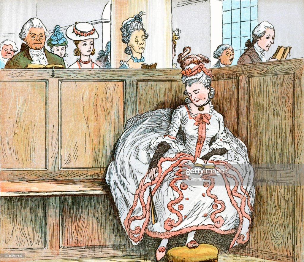 Georgian mulher dormindo em uma igreja caixa Banco de Igreja : Ilustração