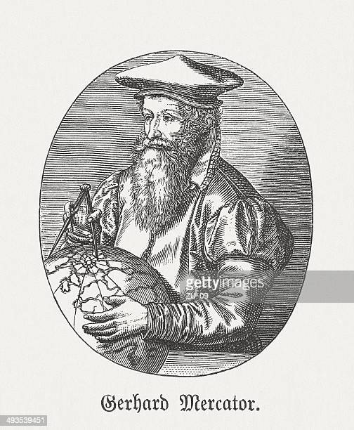 Gerardus Mercator (1512-1594), Flemish-German cartographer, wood engraving, published in 1881