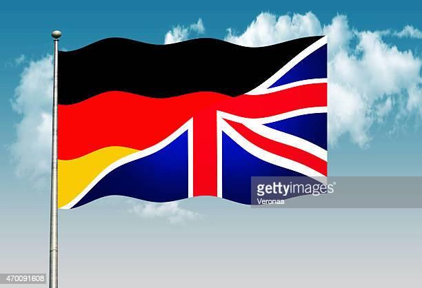 deutsche und britische flagge - deutsche flagge stock-grafiken, -clipart, -cartoons und -symbole