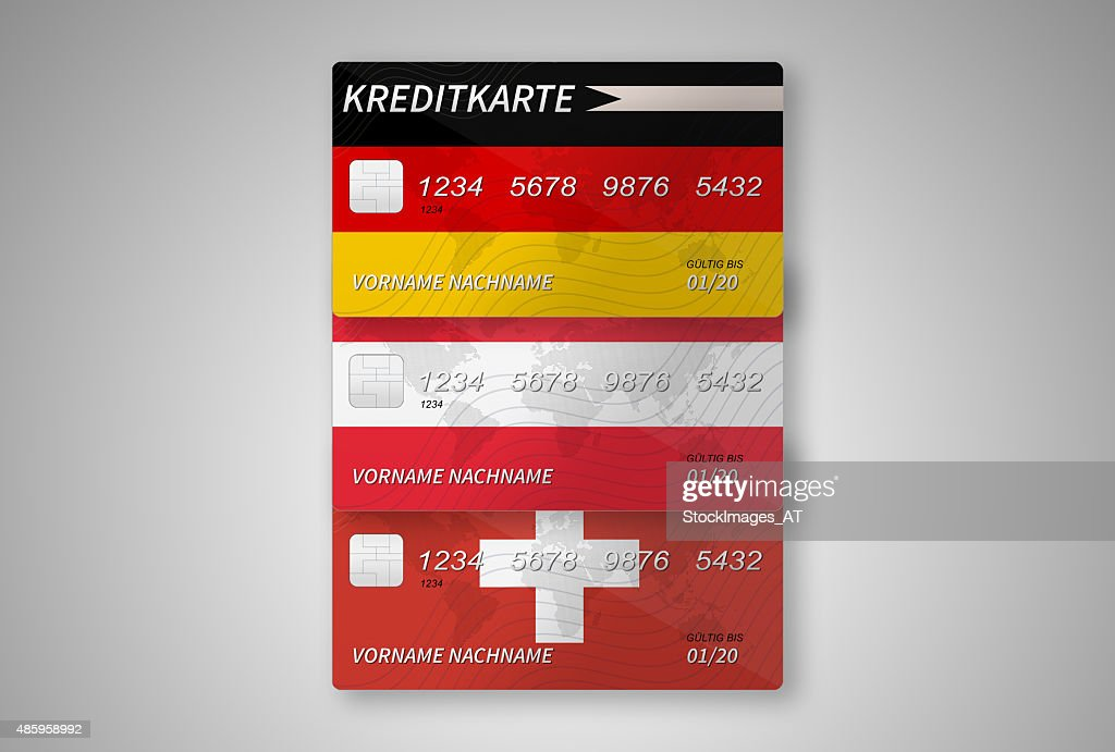 German Austrian And Swiss Credit Cards On Grant Background Stock Ilration