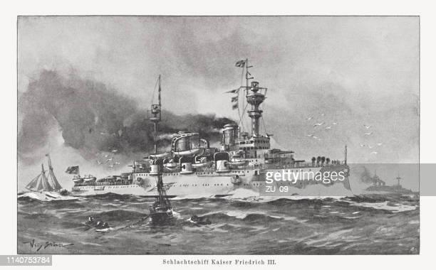 "german battleship ""kaiser friedrich iii (emperor frederick iii)"", published 1898 - warship stock illustrations"