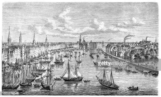 German city of Bremen engraving from 1875
