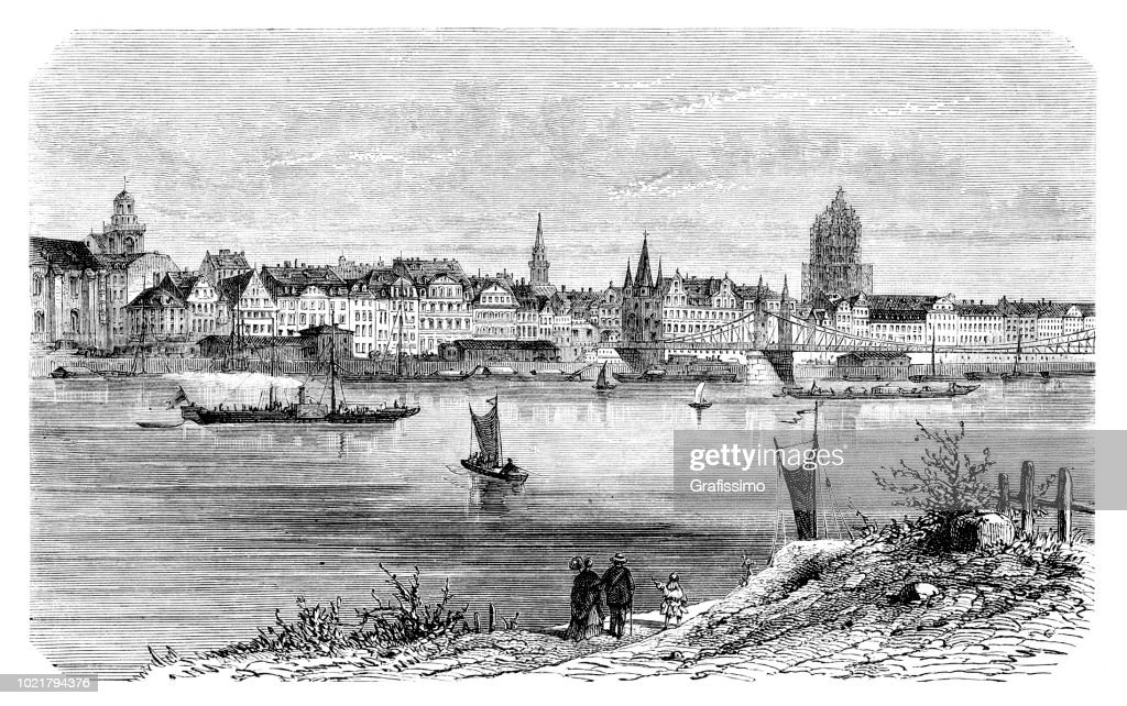 German city of Frankfurt with river Main engraving from 1875 : stock illustration