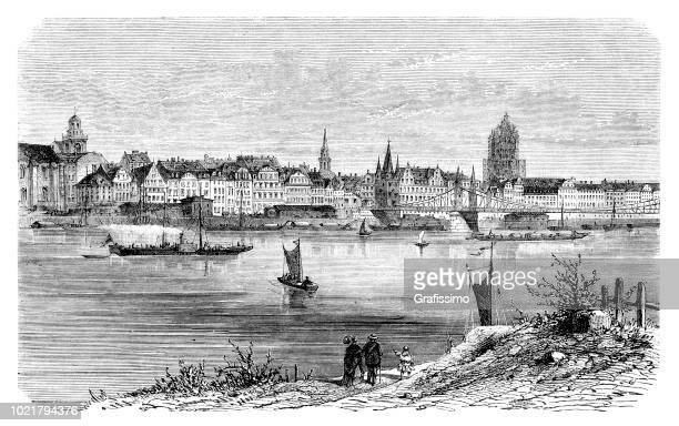 German city of Frankfurt with river Main engraving from 1875