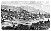 engraving showing german city heidelberg with