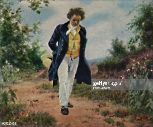 German composer Ludwig van Beethoven , circa 1820. Painting by Julius Schmid . From Die Großen der Weltgelchichte. [Ecktein-Halpaus, Dresden, 1934]....