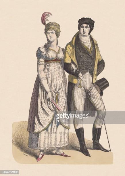 illustrations, cliparts, dessins animés et icônes de les costumes allemands, peu après 1800, coloriée à la main en bois c.1880 gravure, publiée - image du xixème siècle