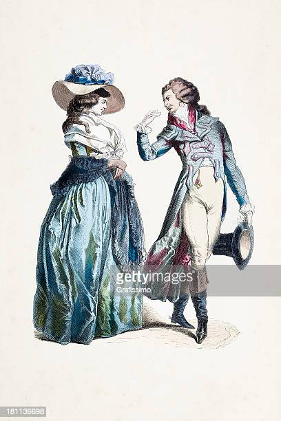 german couple in traditional clothing from 1770 - bonnet stock illustrations, clip art, cartoons, & icons