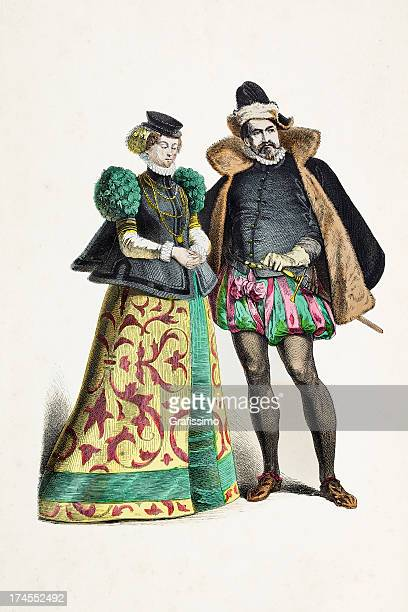german couple of palatinate in traditional clothing 14th century - fine art portrait stock illustrations, clip art, cartoons, & icons