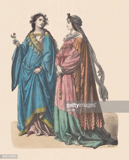 german court costume, early 15th century, hand-colored woodcut, published c.1880 - circa 15th century stock illustrations, clip art, cartoons, & icons