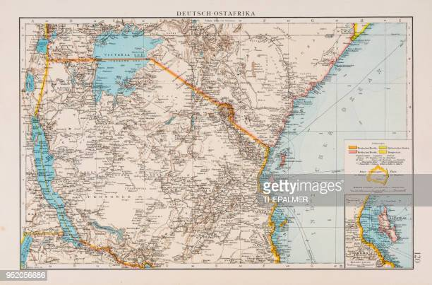 german east africa map 1896 - physical geography stock illustrations, clip art, cartoons, & icons