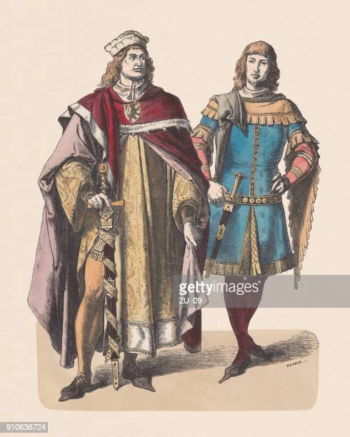 German Elector and Knight, 14th century, hand-colored woodcut, published c.1880