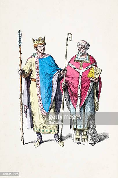 german emperor henry ii with bishop from 10th century - bishop clergy stock illustrations, clip art, cartoons, & icons
