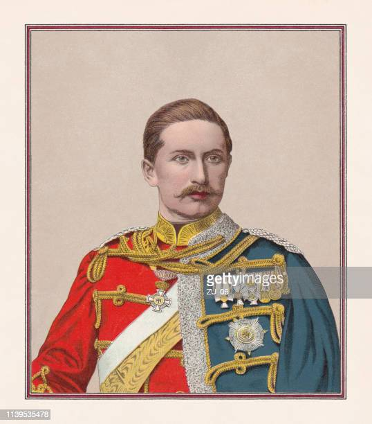 german emperor wilhelm ii (1859-1941), chromolithograph, published in 1888 - king royal person stock illustrations