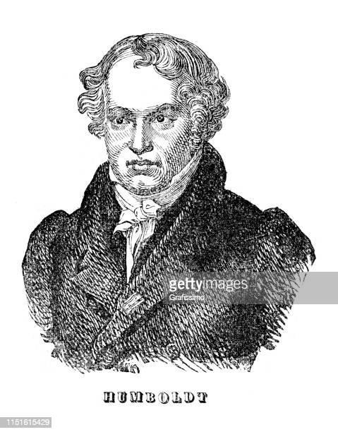 german explorer alexander von humboldt portrait illustration 1839 - alexander von humboldt stock illustrations