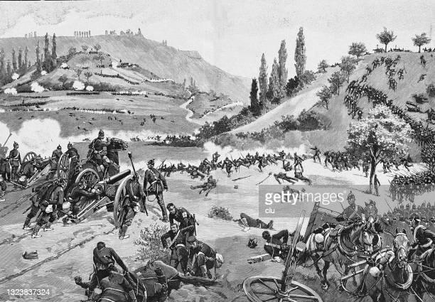 ドイツのフランス戦争1870、8月6日、近くのスピチェレンと戦う - 1870~1879年点のイラスト素材/クリップアート素材/マンガ素材/アイコン素材