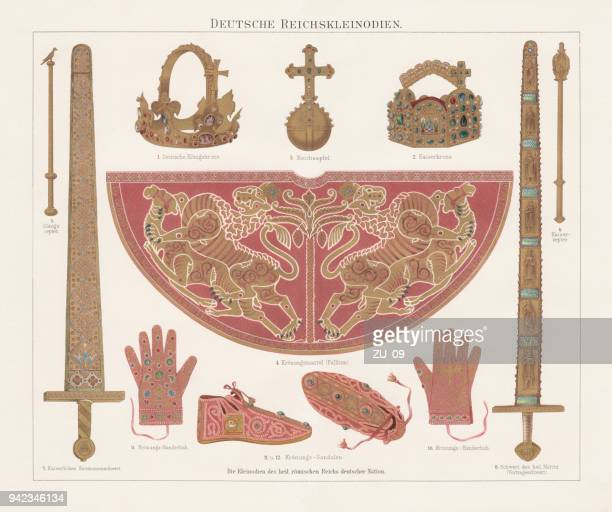 german imperial insignia (imperial treasury, vienna), lithograph, published in 1897 - medieval shoes stock illustrations