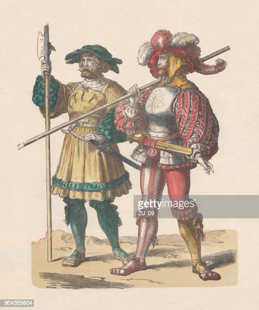 german lansquenet, early 16th century, hand-colored wood engraving, published c.1880 - traditional clothing stock illustrations