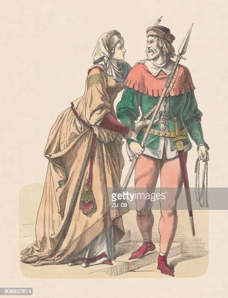 german nobility: castle women and knight as hunter, 14th century - circa 14th century stock illustrations, clip art, cartoons, & icons