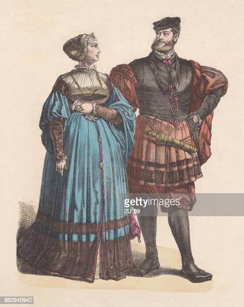 German nobility, early 16th century, hand-colored wood engraving, published c. 1880