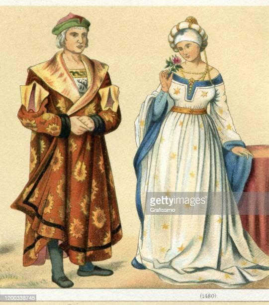 deutsches adelspaar in traditioneller kleidung 1480 - renaissance stock-grafiken, -clipart, -cartoons und -symbole