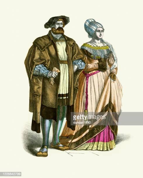 ドイツ貴族、パトリシアン、16世紀のファッション、男と女 - 16世紀のスタイル点のイラスト素材/クリップアート素材/マンガ素材/アイコン素材