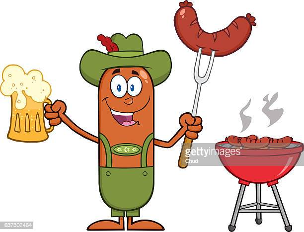 german oktoberfest sausage cartoon character holding a beer - chef stock illustrations