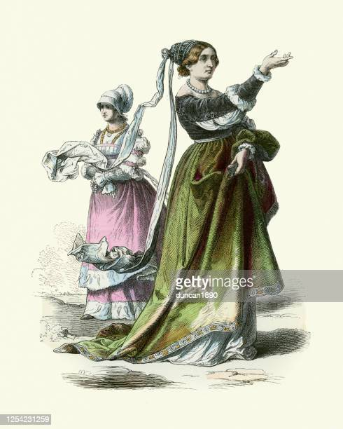 ドイツの愛国者の女性、歴史のファッション、時代の衣装、ドイツ16世紀 - 16世紀のスタイル点のイラスト素材/クリップアート素材/マンガ素材/アイコン素材