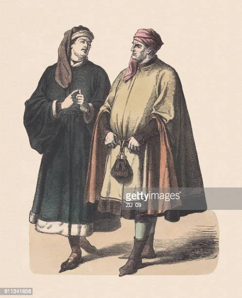 german patricians, 14th century, hand-colored wood engraving, published c.1880 - cape garment stock illustrations