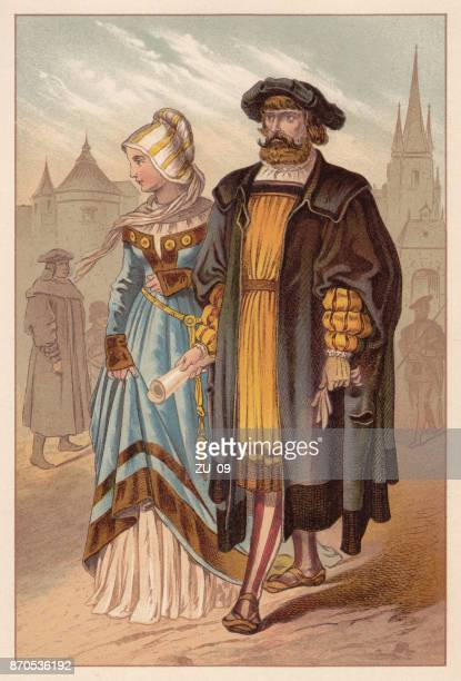 german nobility, early 16th century, lithograph, published in 1888 - ceremonial robe stock illustrations