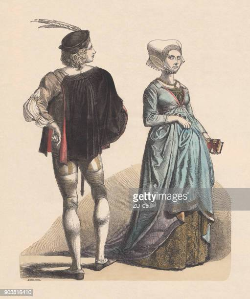 ilustraciones, imágenes clip art, dibujos animados e iconos de stock de patricios alemán, última mitad del siglo xv, publicaron c.1880 - edad media