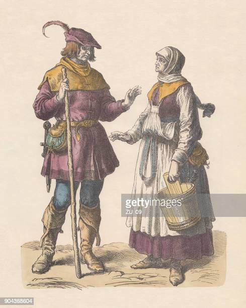 german peasants, early 16th century, hand-colored wood engraving, published c.1880 - 16th century style stock illustrations