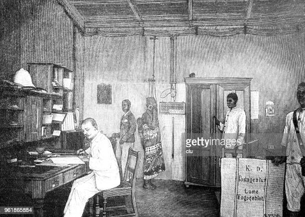 german post office in africa, togo - post office stock illustrations, clip art, cartoons, & icons