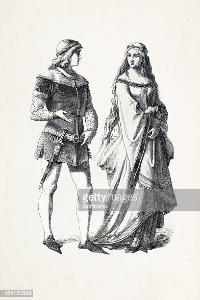german prince and princess in traditional clothing 14th century - circa 14th century stock illustrations, clip art, cartoons, & icons