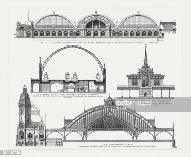 German railroad stations, built 19th century, wood engravings, published 1897