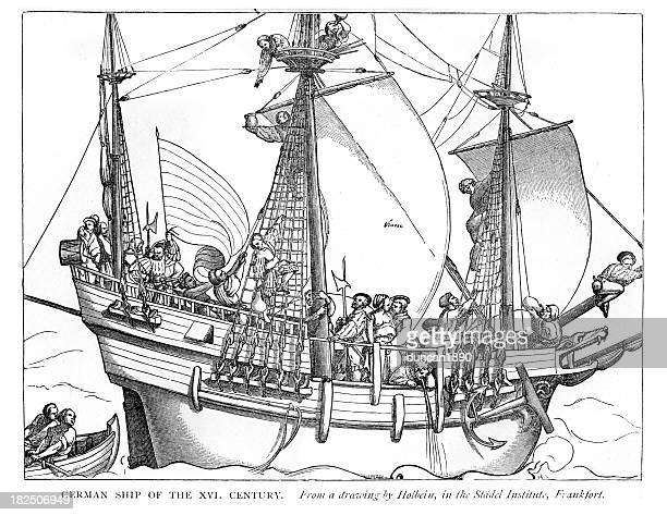 german ship of the 16th century - 16th century style stock illustrations, clip art, cartoons, & icons
