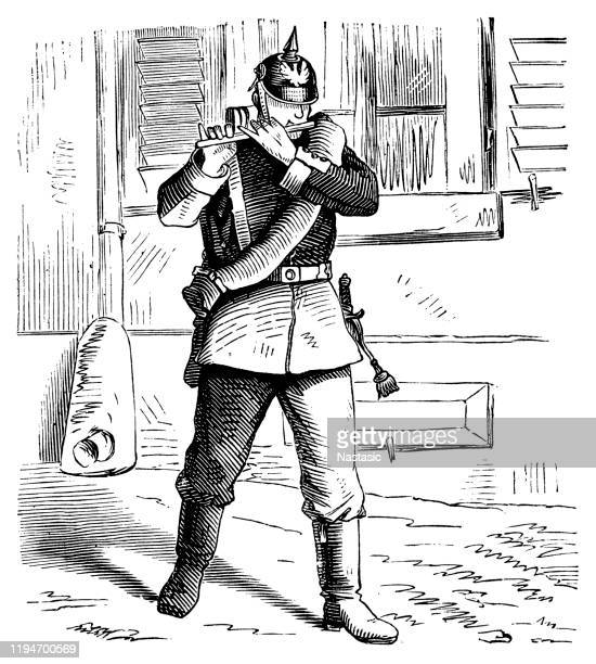 german soldier playing flute - hood clothing stock illustrations