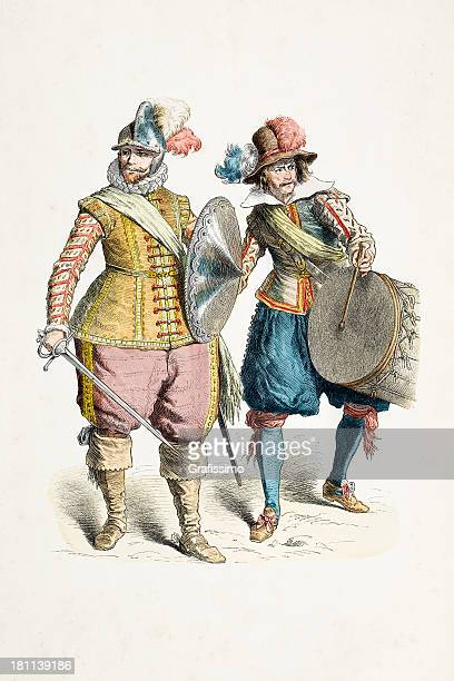 german soldiers with different costumes from 17th century - only men stock illustrations, clip art, cartoons, & icons